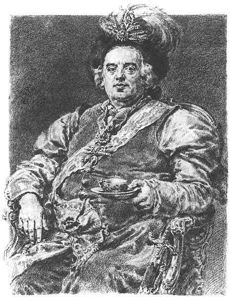 "Jan Matejko. August III Saxon. Series ""Portraits of Kings and Princes of Poland"""