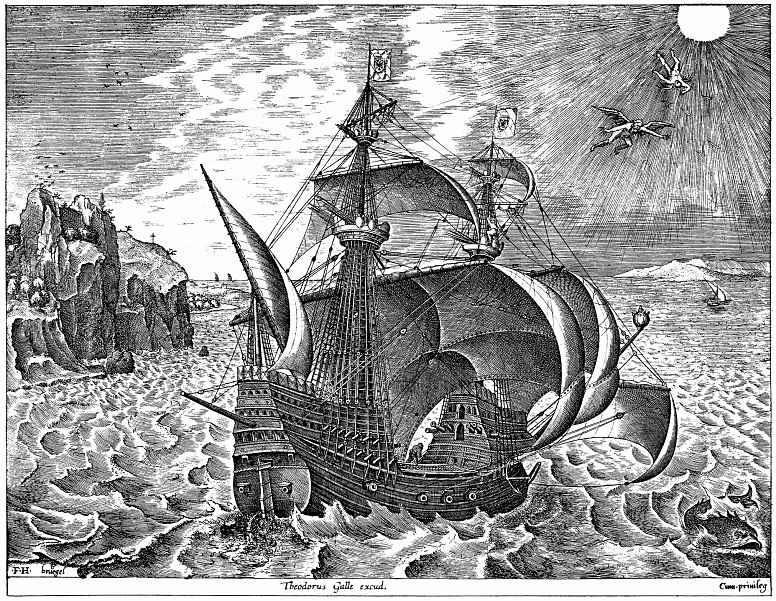 Питер Брейгель Старший. Парусный корабль, оснащенный пушками