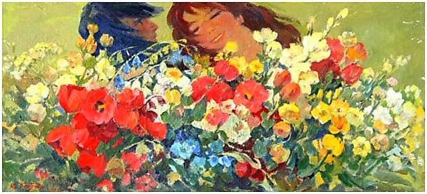 Albert Tsovyan. Wild flowers - 1971 oil on canvas - 37.0 x 81.0.