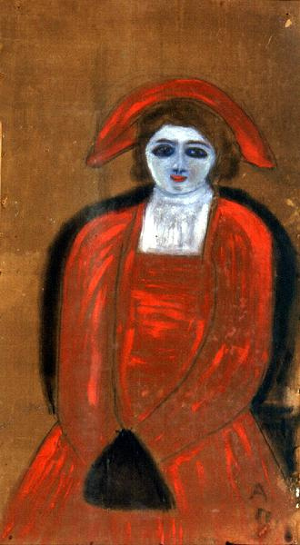 Anna Petrovna the Wild. Portrait of a girl in red
