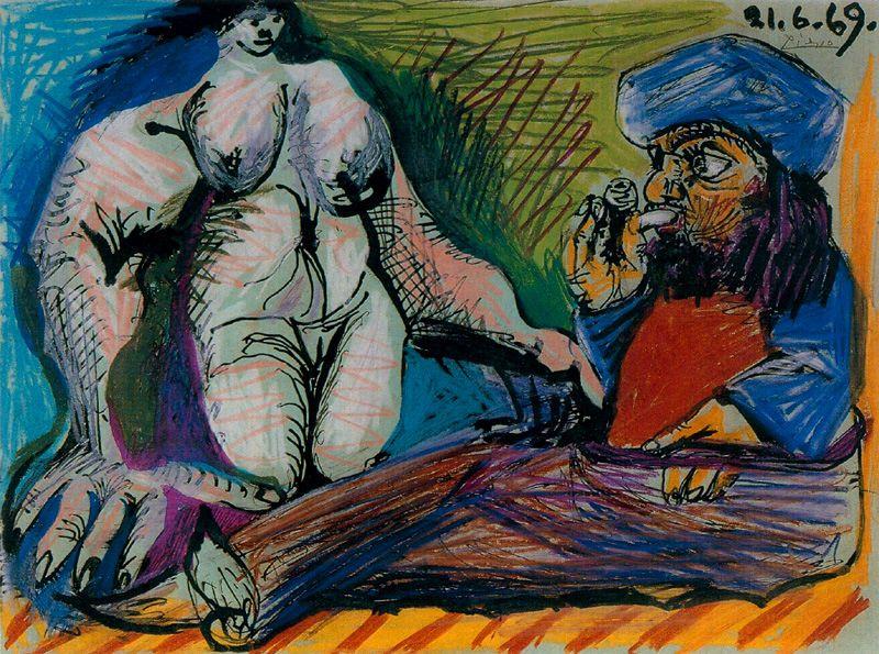 Пабло Пикассо. Курильщик и обнаженная женщина