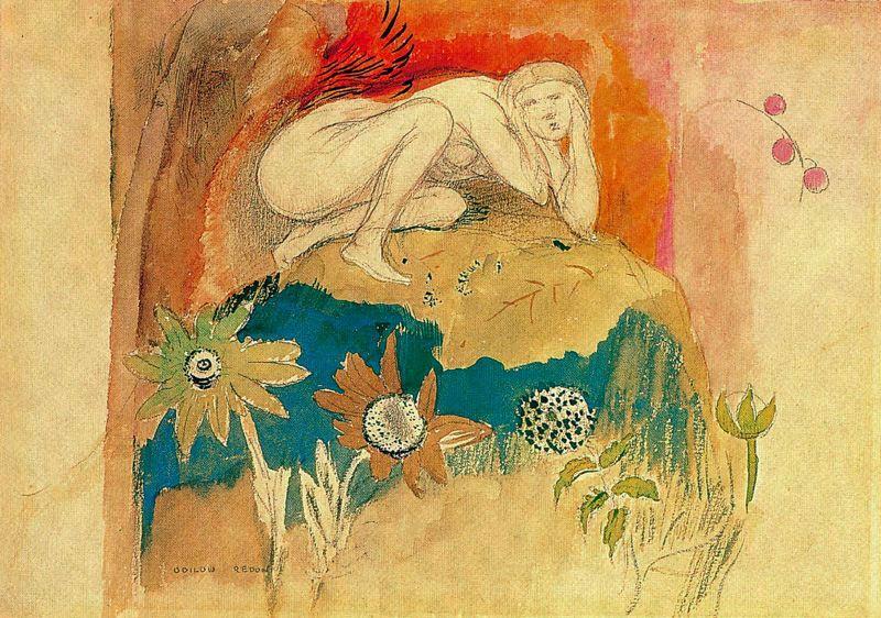 Одилон Редон. Обнаженная девушка и цветы
