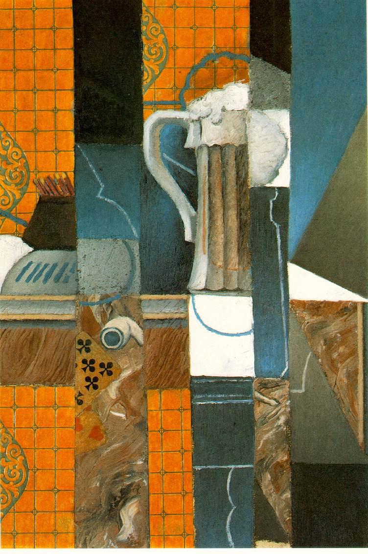 Juan Gris. A glass of beer and playing cards