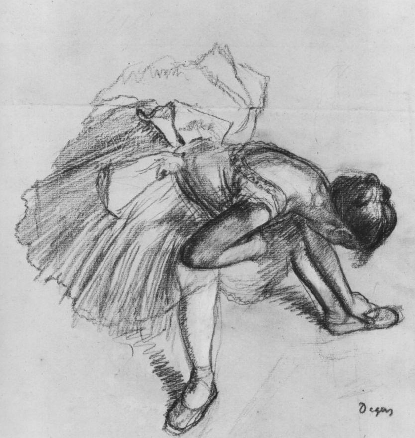 Эдгар Дега. Сидящая балерина, поправляющая туфлю
