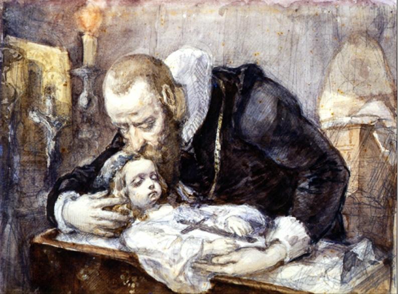 Ян Матейко. Ян Кохановский над телом дочери Урсулы. Эскиз