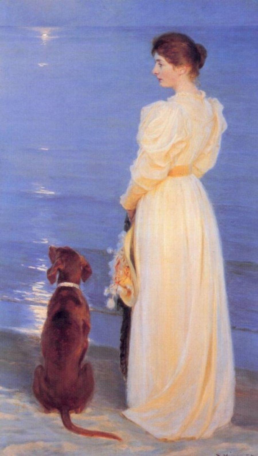 Peder Severin Krøyer. Summer evening at Skagen. The artist's wife and dog on the shore