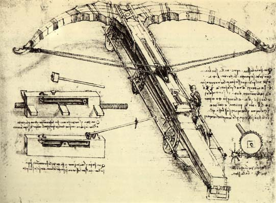 Leonardo da Vinci. Drawing of giant crossbow