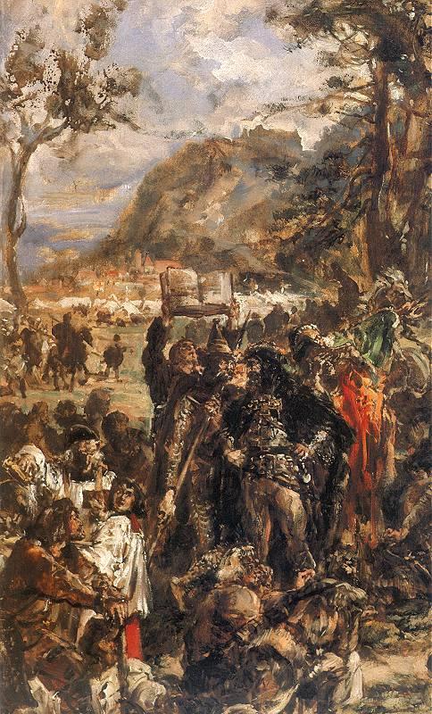 Ян Матейко. Христианизация (крещение) Литвы в 1387 году. Фрагмент. Благословляющий францисканский монах