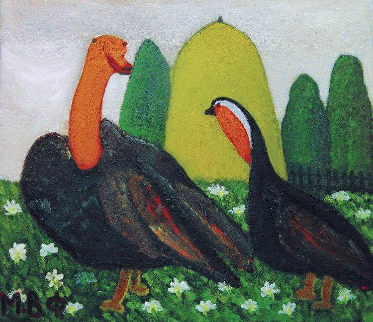 Vladimir Fedorovich Mizinov. Couple in love. Turkeys