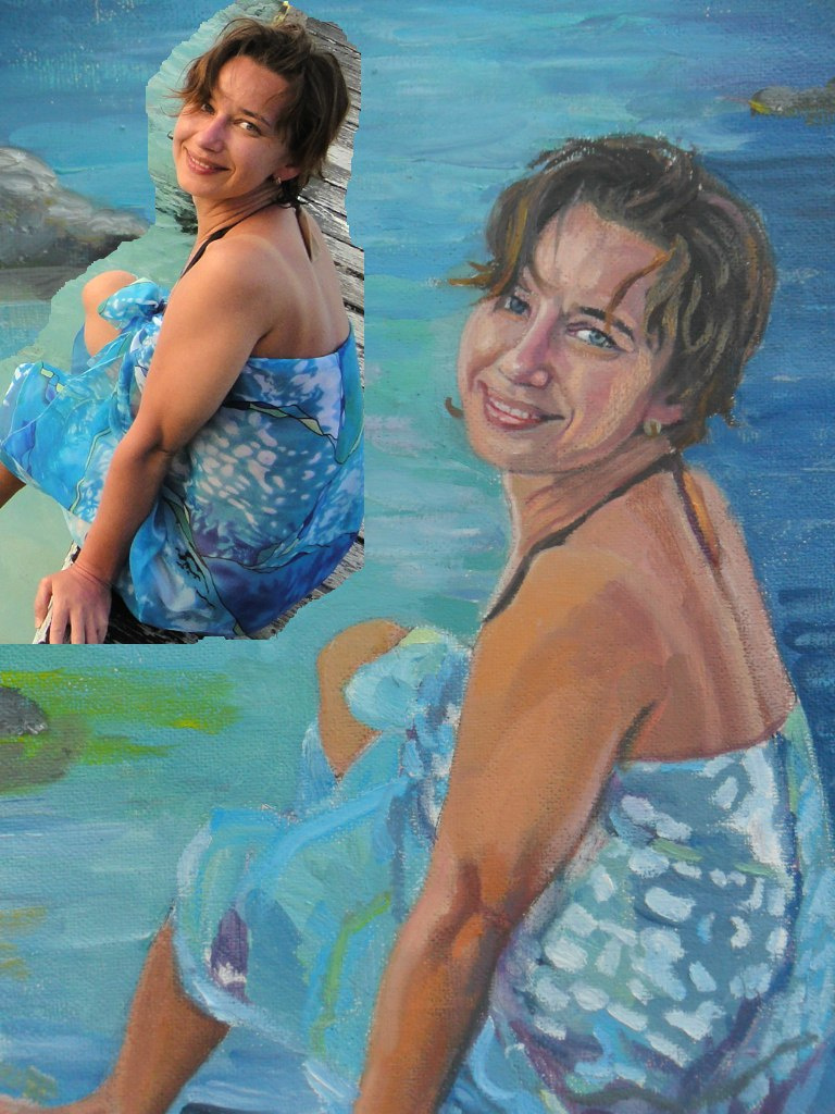 Olga Vladimirovna Mikhaylenko. Female portrait on the bank of the river on the photo