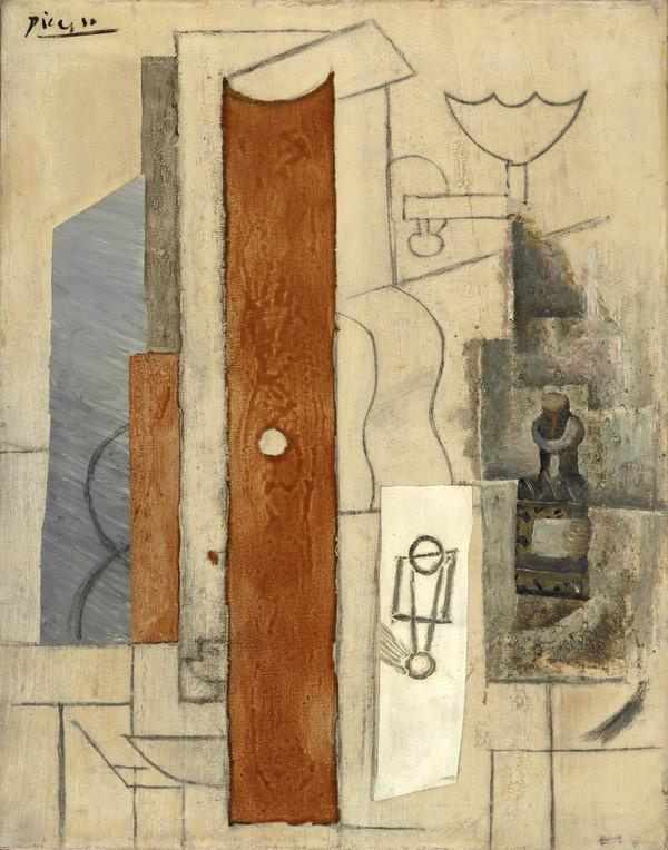 Pablo Picasso. Guitar, gas jet and bottles