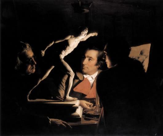 Joseph Wright. Three people examining a gladiator by candlelight, 1765