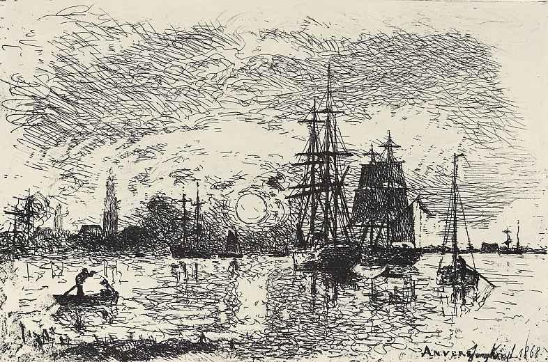 Ян Бартолд Йонгкинд. Заход солнца в гавани Антверпена