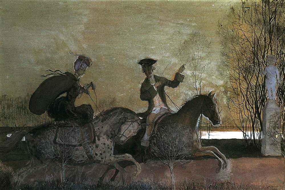 Константин Андреевич Сомов. Вечерняя прогулка верхом