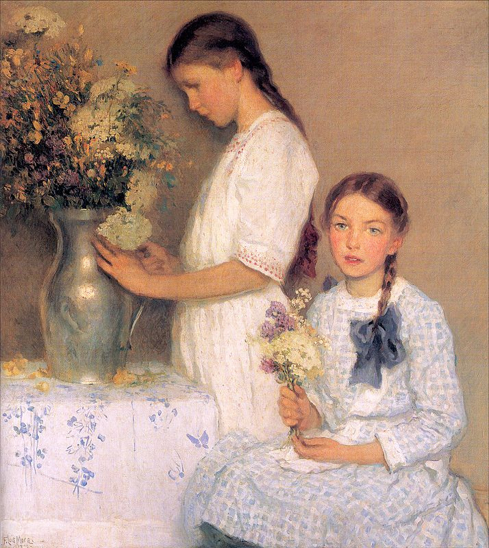 Фрэнсис Луис Мора. Две девочки с цветами