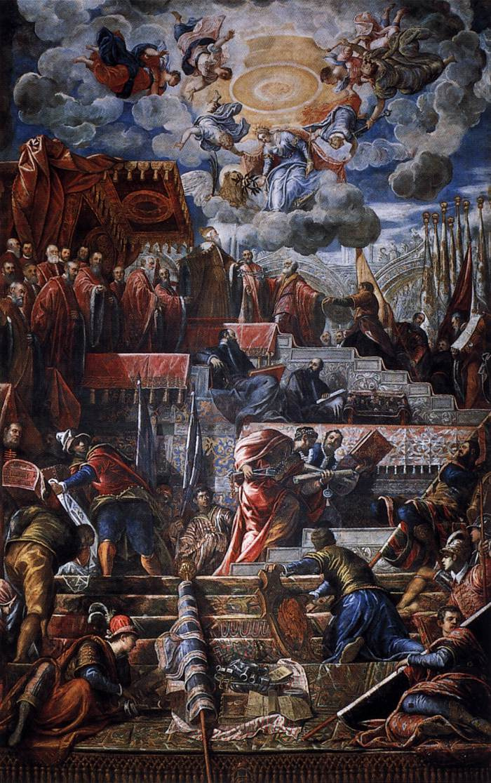 Jacopo (Robusti) Tintoretto. Doge Niccolò da Ponte receives a laurel wreath from Venice