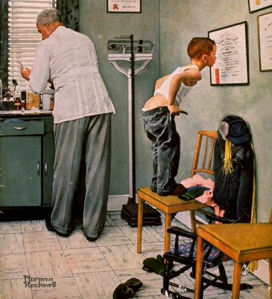 "Норман Роквелл. У доктора. Обложка журнала ""The Saturday Evening Post"" (15 марта 1958 года)"