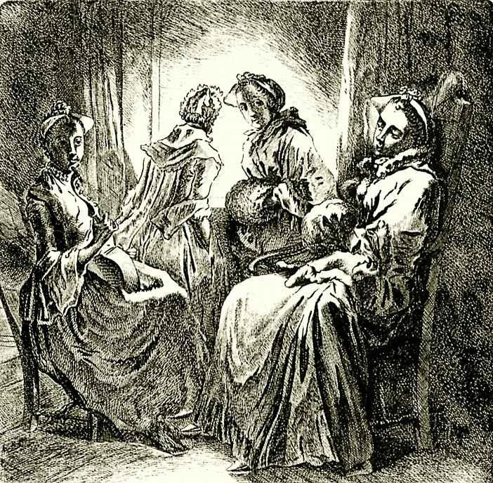 Даниэль  Николай Ходовецкий. Четыре дамы у окна