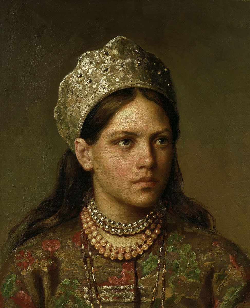 Firs Sergeevich Zhuravlev. Portrait of a girl in Russian costume