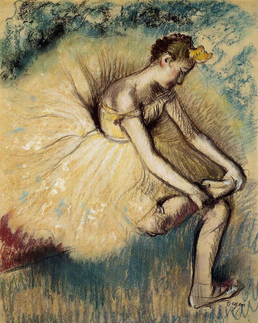 Edgar Degas. Dancer putting on Shoe