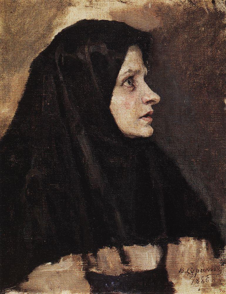 Василий Иванович Суриков. Голова женщины в черном платке