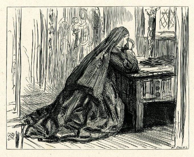 """Джон Эверетт Милле. Молитва перед распятием. Иллюстрация к рассказу Харриет Мартино, """"Один раз в неделю"""""""