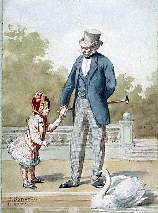 Бернар Людовик Борион. Дедушка с внучкой, смотрящие на плывущего лебедя