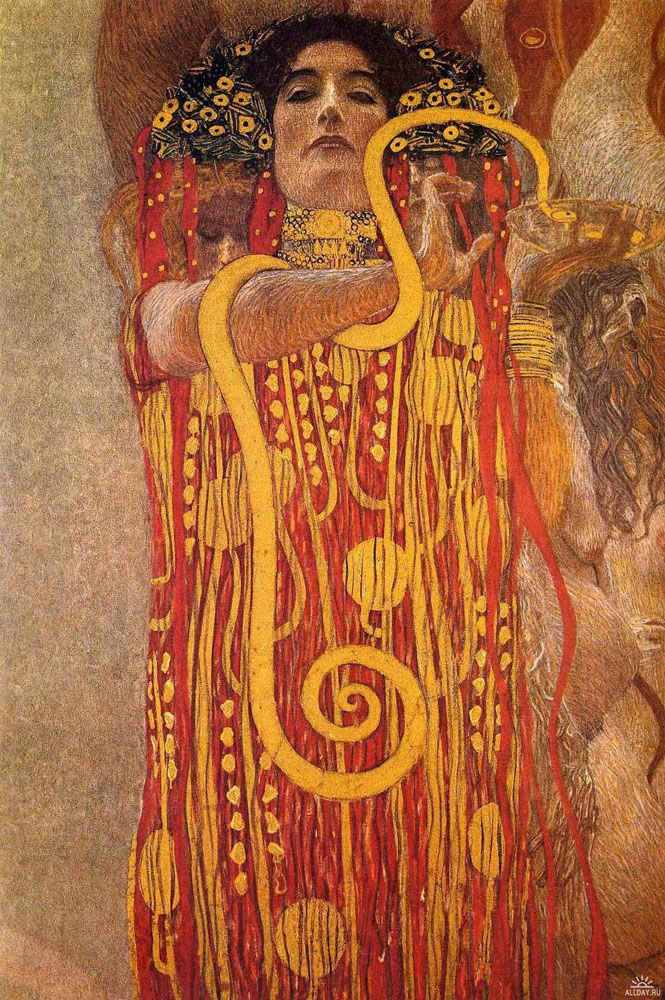 "Gustav Klimt. Hygieia. A fragment of the painting ""Medicine"" (the ceiling Paintings for Vienna University)"