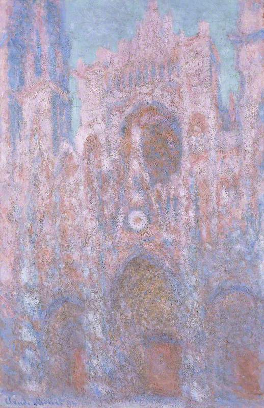Claude Monet. Monet's Rouen Cathedral Setting Sun (Symphony in Grey and Pink)