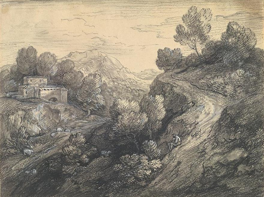 Томас Гейнсборо. Горный пейзаж с дорогой, спускающейся с холма
