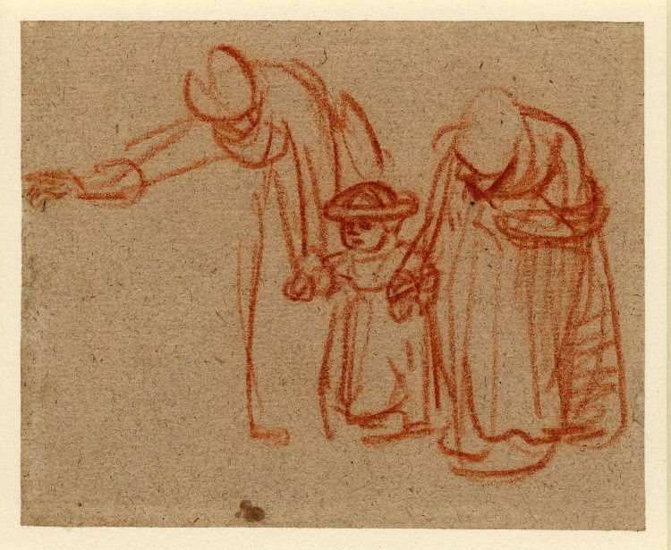 Rembrandt Harmenszoon van Rijn. Two women teaching a child to walk