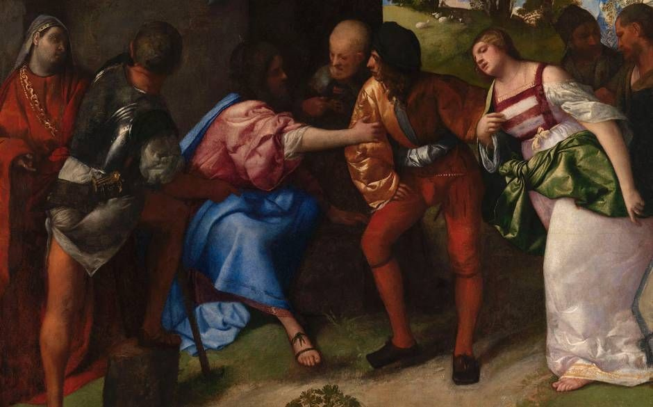Titian Vecelli. Christ and the adulteress