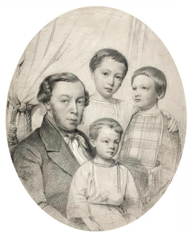 Maria Alekseevna Polenova (Voeikova). Group portrait of D.V. Polenova with her sons