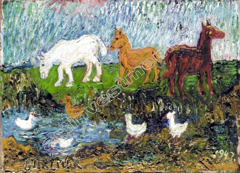Давид Давидович Бурлюк. Лошади в поле