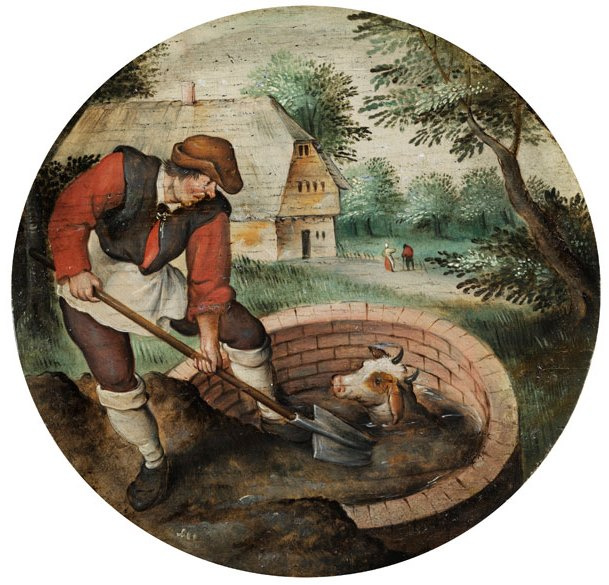 Peter Brueghel the Younger. The farmer, asleep hole with a calf. Allegory of untimely action