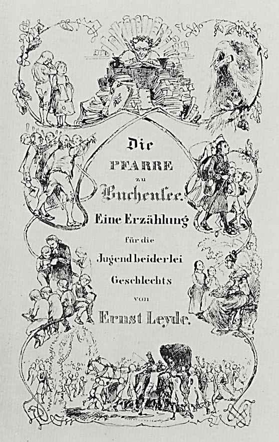 """Адольф фон Менцель. Титульный лист к сочинению Эрнста Лейде: """"Церковный приход на Бухензее """""""