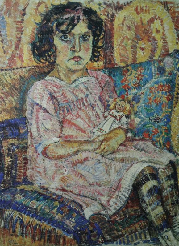 Alexander Alexandrovich Osmyorkin. Girl with a doll. State Museum of Arts of the Karakalpak Republic.