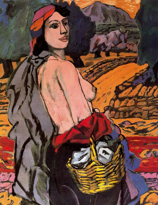 Хосе Ортега. Девушка с корзиной