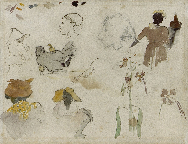Paul Gauguin. Sketch of Several Figures, Flowers and Animal (verso)