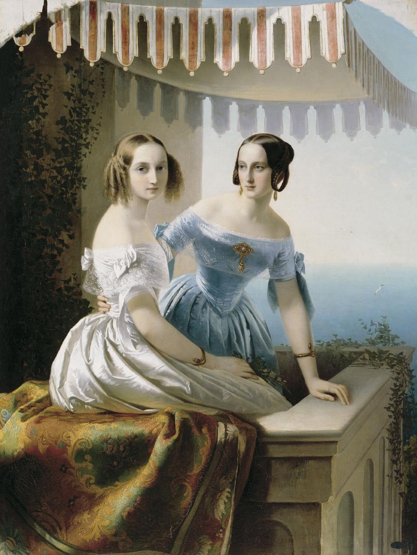 Timofey Andreevich Neff. Portrait of the Grand Duchesses Maria Nikolaevna and Olga Nikolaevna. State Russian Museum, St. Petersburg