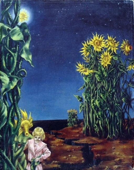 Dorothea Tunning. Landscape with sunflowers