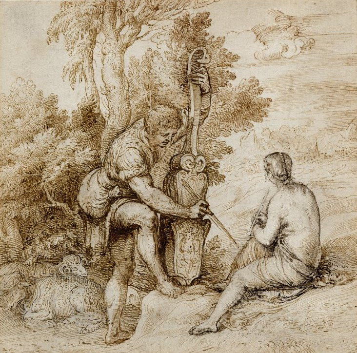 Titian Vecelli. Couple playing music in Arcadia