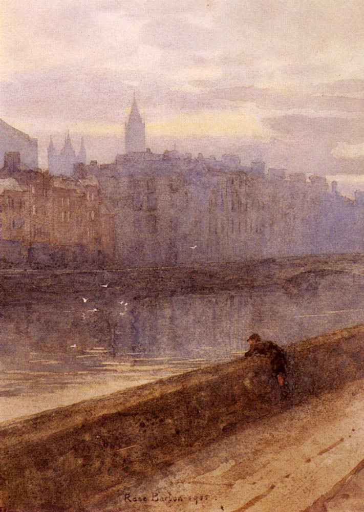 Rose Maynard Barton. Evening on the river Liffey with the Church. John in the distance