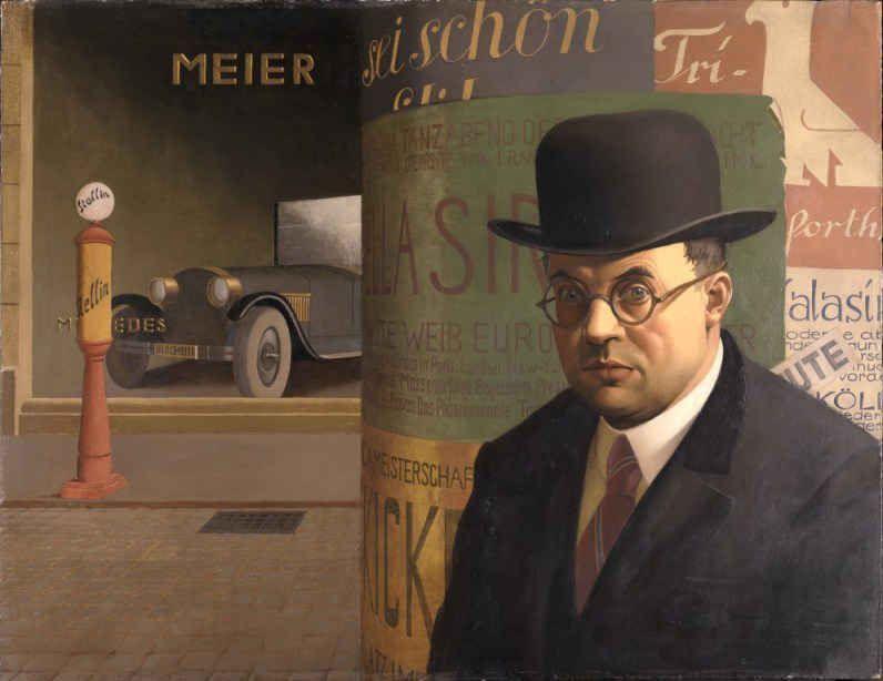 Георг Шольц. Автопортрет на фоне колонны с объявлениями