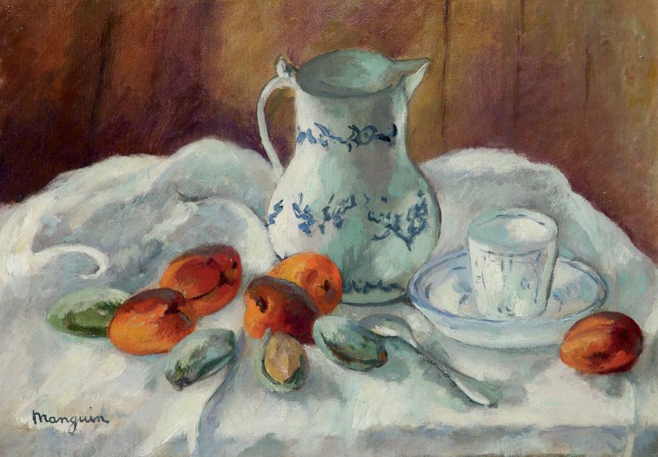 Henri Manguin. Apricots, almonds and white jug