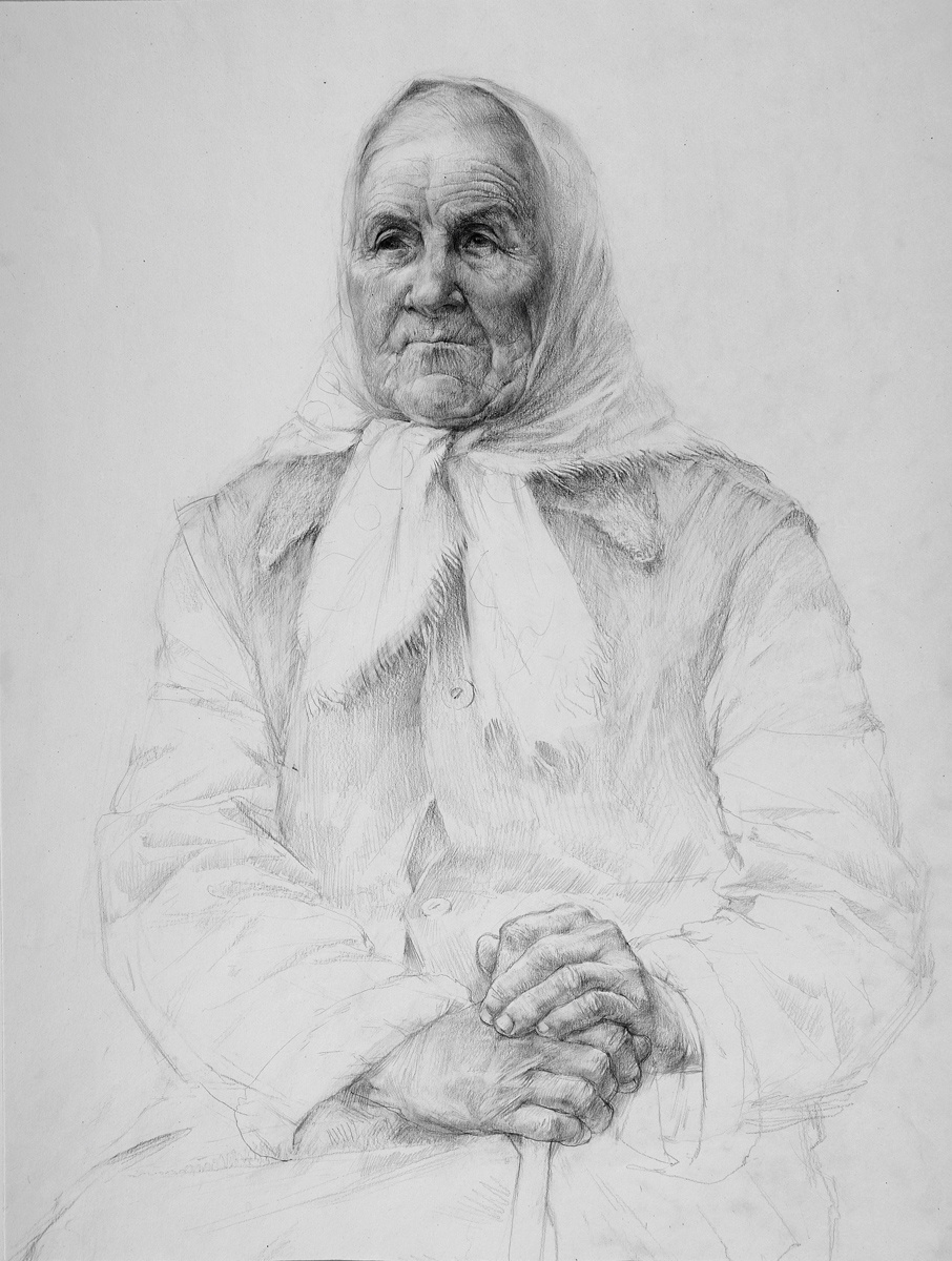 Alexander Victorovich Shevelyov. Portrait of an old woman. Boom.Graph.K.45 x 65 cm.1987
