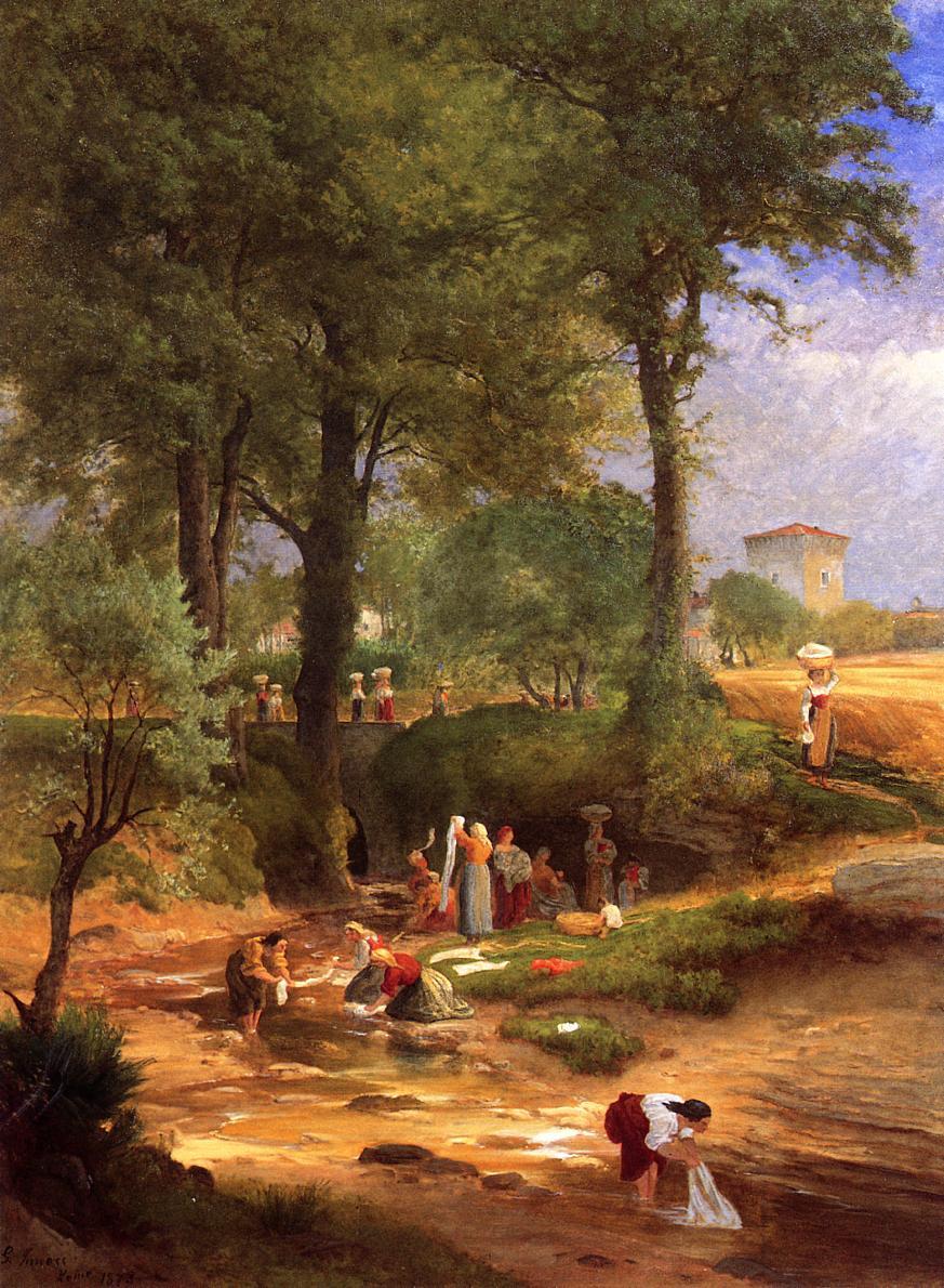 George Innes. Washing day near Perugia otherwise Italian washerwomen