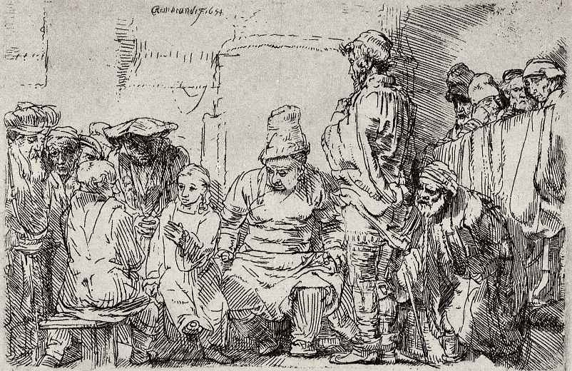 Рембрандт Харменс ван Рейн. Сидящий Иисус и книжники