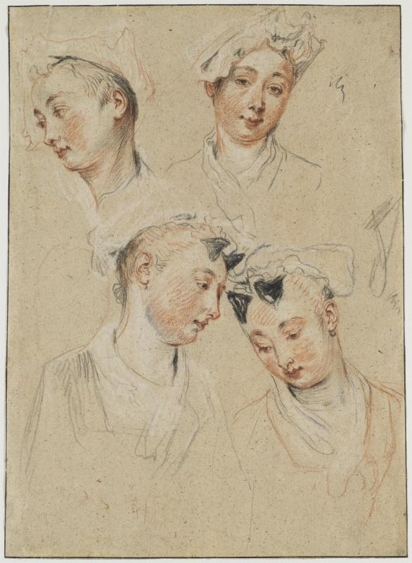 Антуан Ватто. Четыре эскиза головы девушки