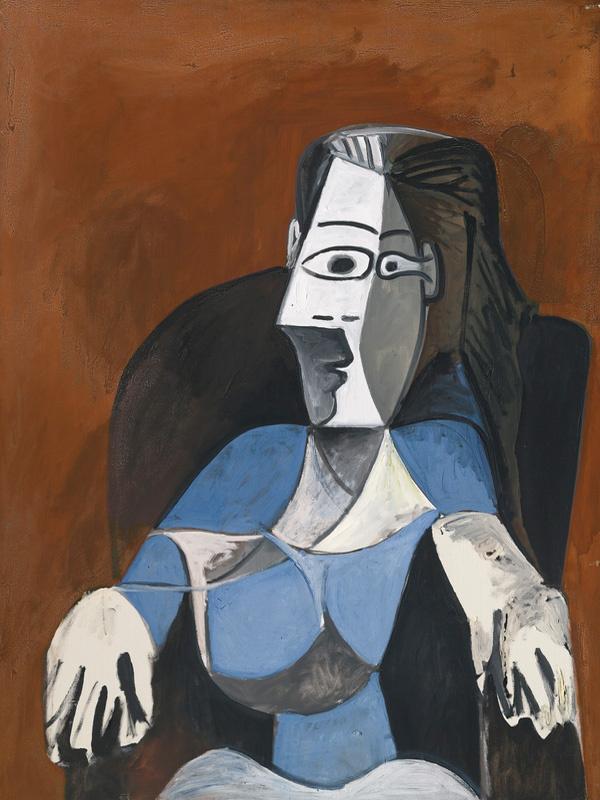 Пабло Пикассо. Женщина, сидящая в черном кресле